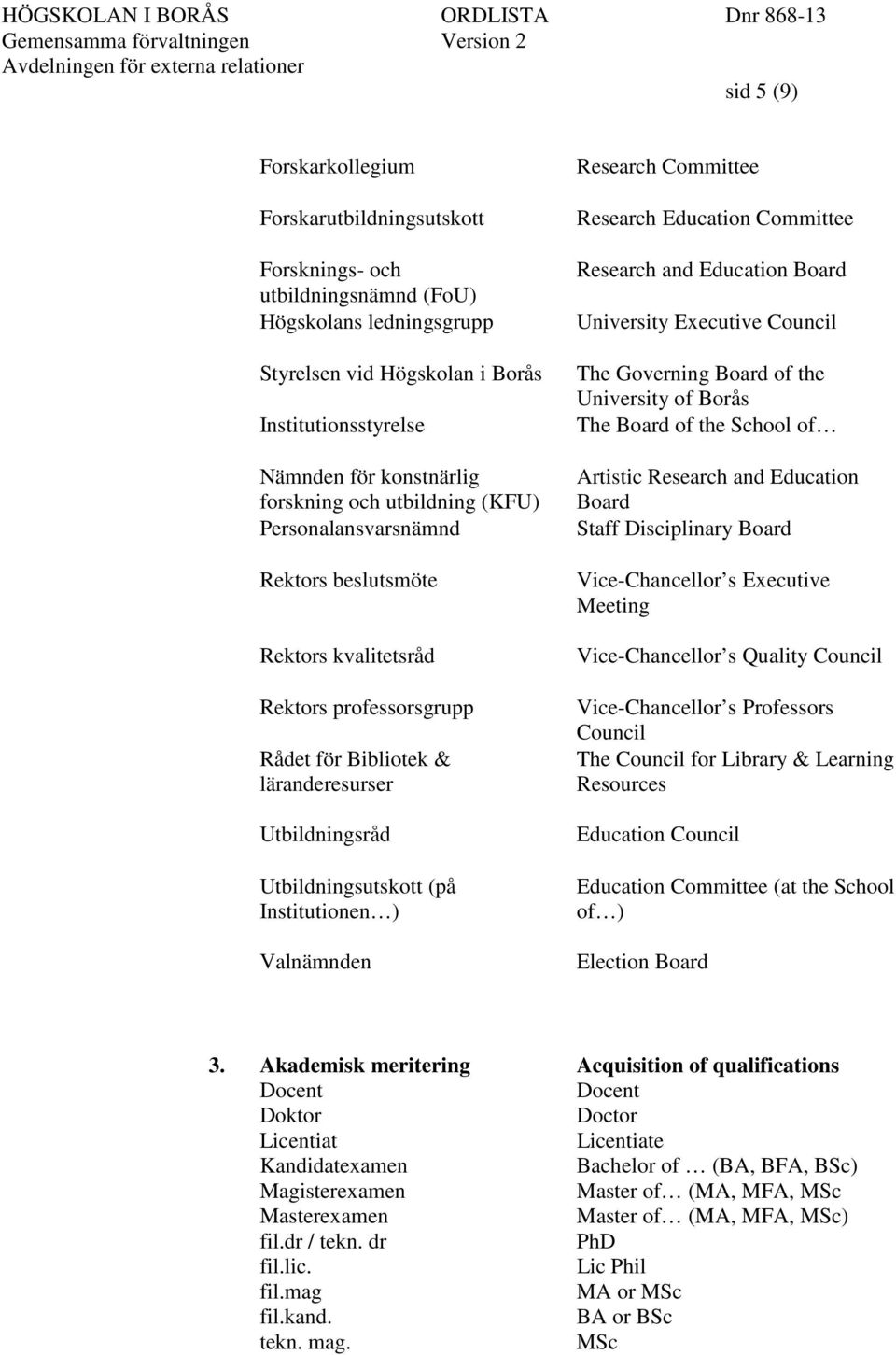 Institutionen ) Valnämnden Research Committee Research Education Committee Research and Education Board University Executive Council The Governing Board of the University of Borås The Board of the