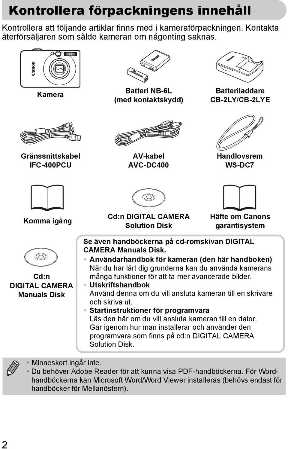 garantisystem Cd:n DIGITAL CAMERA Manuals Disk Se även handböckerna på cd-romskivan DIGITAL CAMERA Manuals Disk.