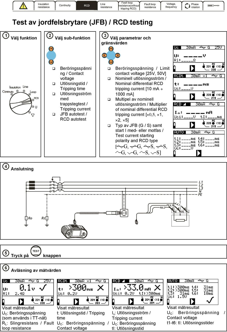nominell utlösningsström / Multiplier of nominal differential RCD tripping current [ 0,5, 1, 2, 5] Typ av JFB (G / S) samt start I med- eller motfas / Test current starting polarity and RCD type [ G,
