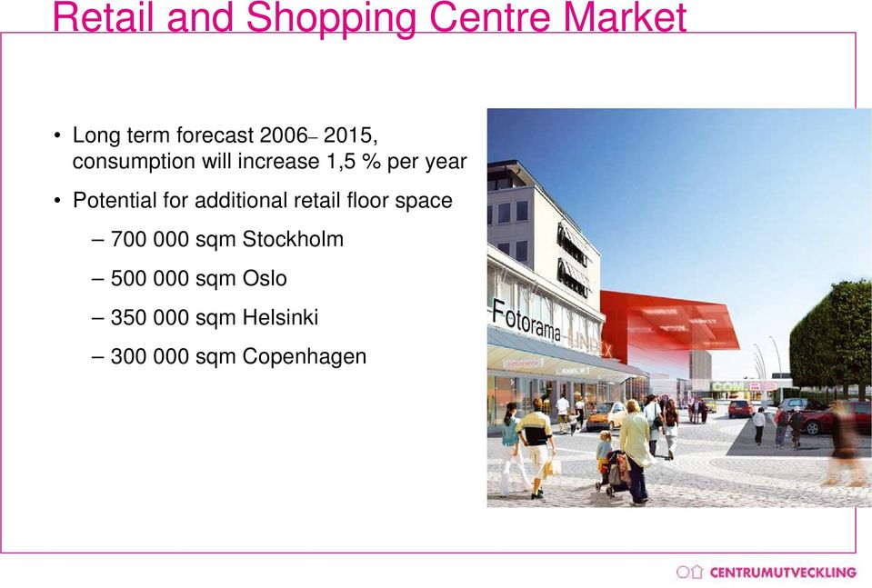 for additional retail floor space 700 000 sqm Stockholm