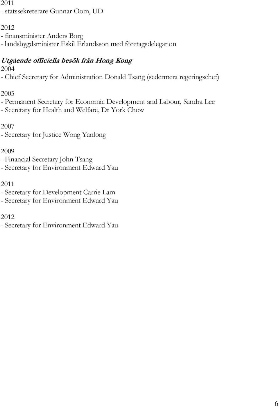 and Labour, Sandra Lee - Secretary for Health and Welfare, Dr York Chow 2007 - Secretary for Justice Wong Yanlong 2009 - Financial Secretary John Tsang -