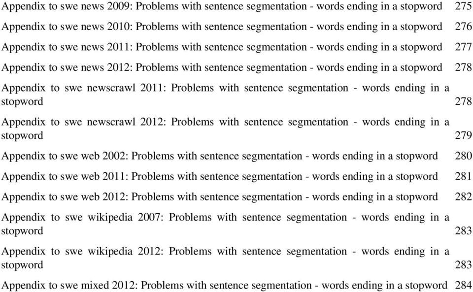 Appendix to swe newscrawl 2011: Problems with sentence segmentation - words ending in a stopword 278 Appendix to swe newscrawl 2012: Problems with sentence segmentation - words ending in a stopword