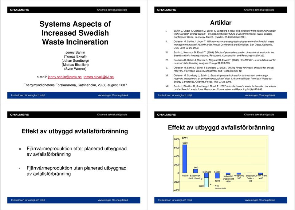 Heat and electricity from waste incineration in the Swedish energy system development under future CO2 commitments. ISWA Beacon Conference Waste- to-energy, Malmö, Sweden, 25-26 October 21. II.