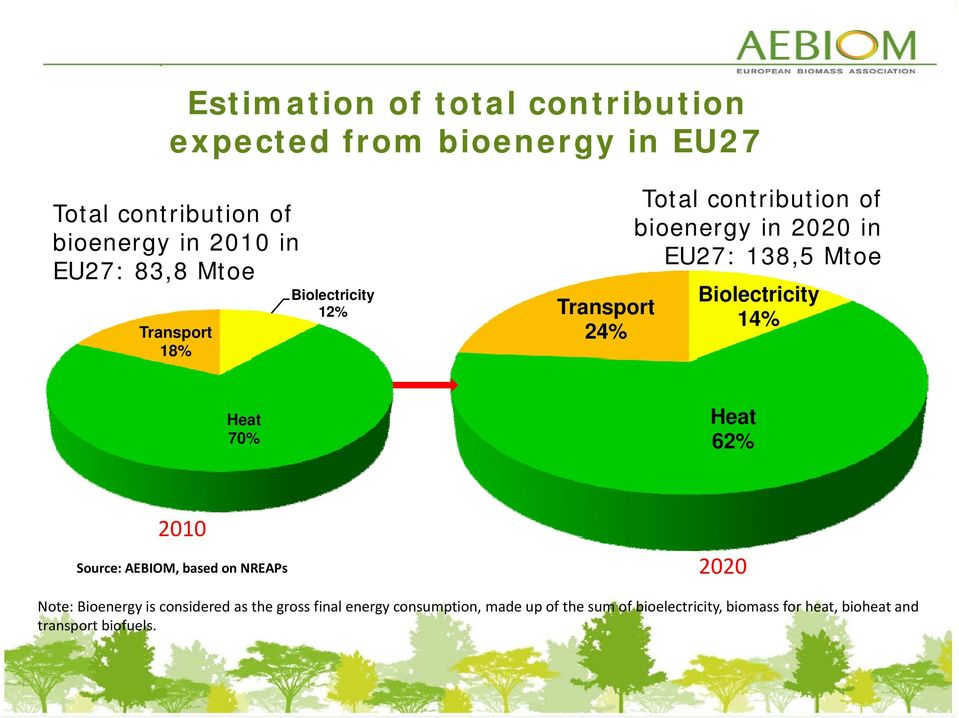 Biolectricity 14% Heat 62% Heat 70% 62% 2010 Source: AEBIOM, based on NREAPs 2020 Note: Bioenergy is considered as the