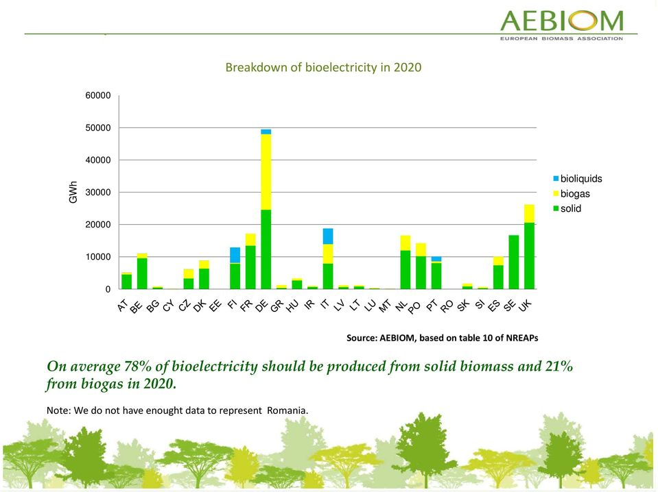 On average 78% of bioelectricity should be produced from solid biomass and