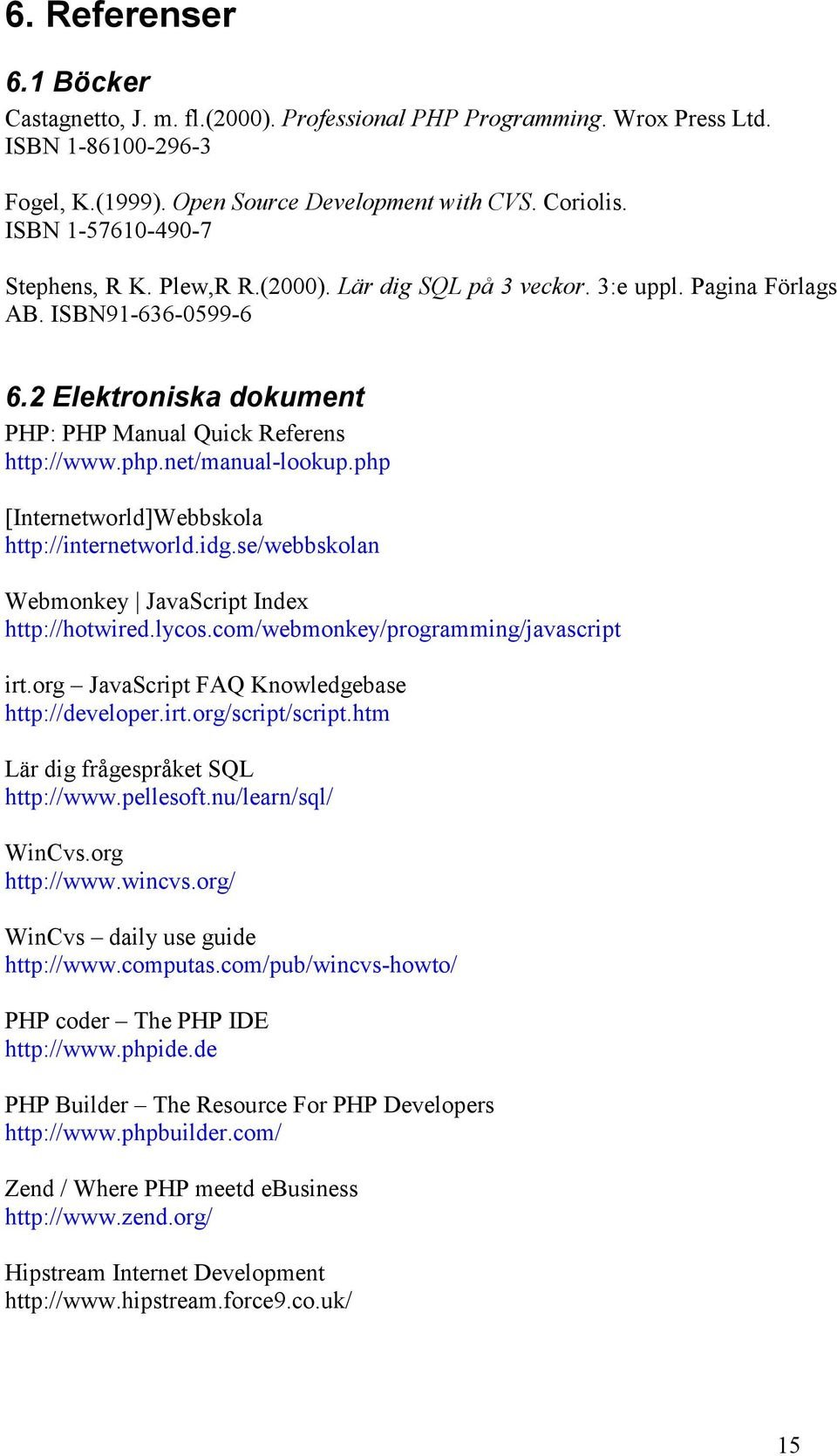 net/manual-lookup.php [Internetworld]Webbskola http://internetworld.idg.se/webbskolan Webmonkey JavaScript Index http://hotwired.lycos.com/webmonkey/programming/javascript irt.