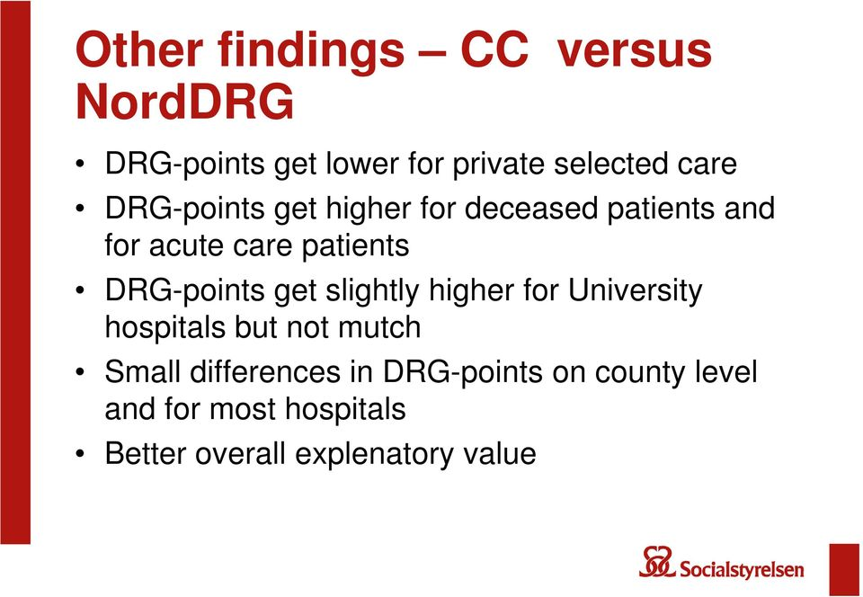 DRG-points get slightly higher for University hospitals but not mutch Small
