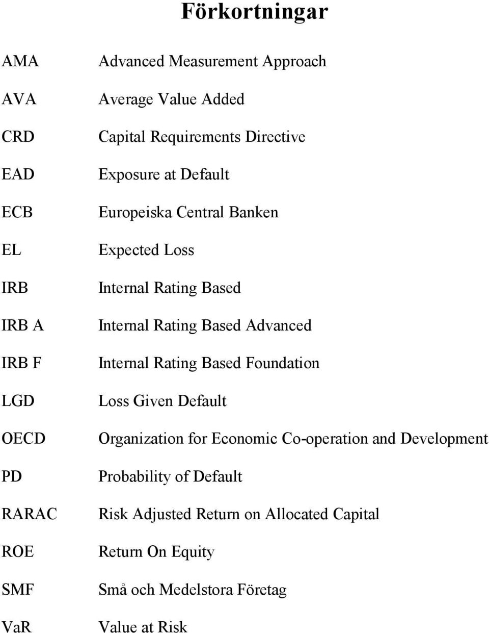 Internal Rating Based Advanced Internal Rating Based Foundation Loss Given Default Organization for Economic Co-operation and