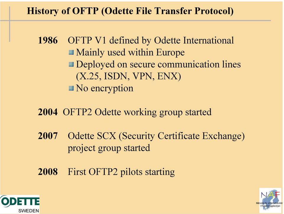 25, ISDN, VPN, ENX) No encryption 2004 OFTP2 Odette working group started 2007