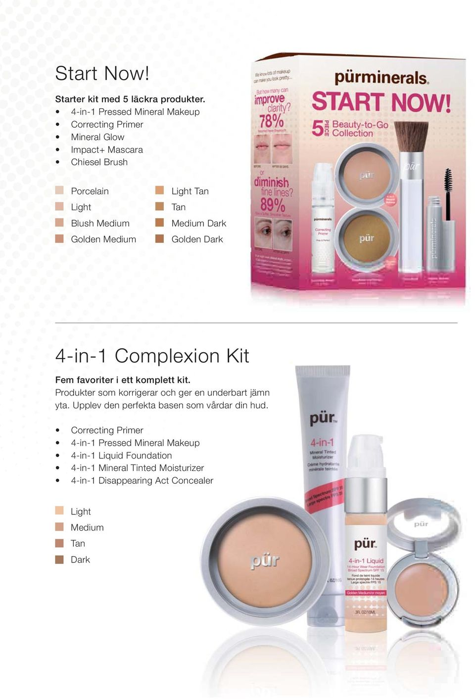 Light Tan Tan Medium Dark Golden Dark 4-in-1 Complexion Kit Fem favoriter i ett komplett kit.