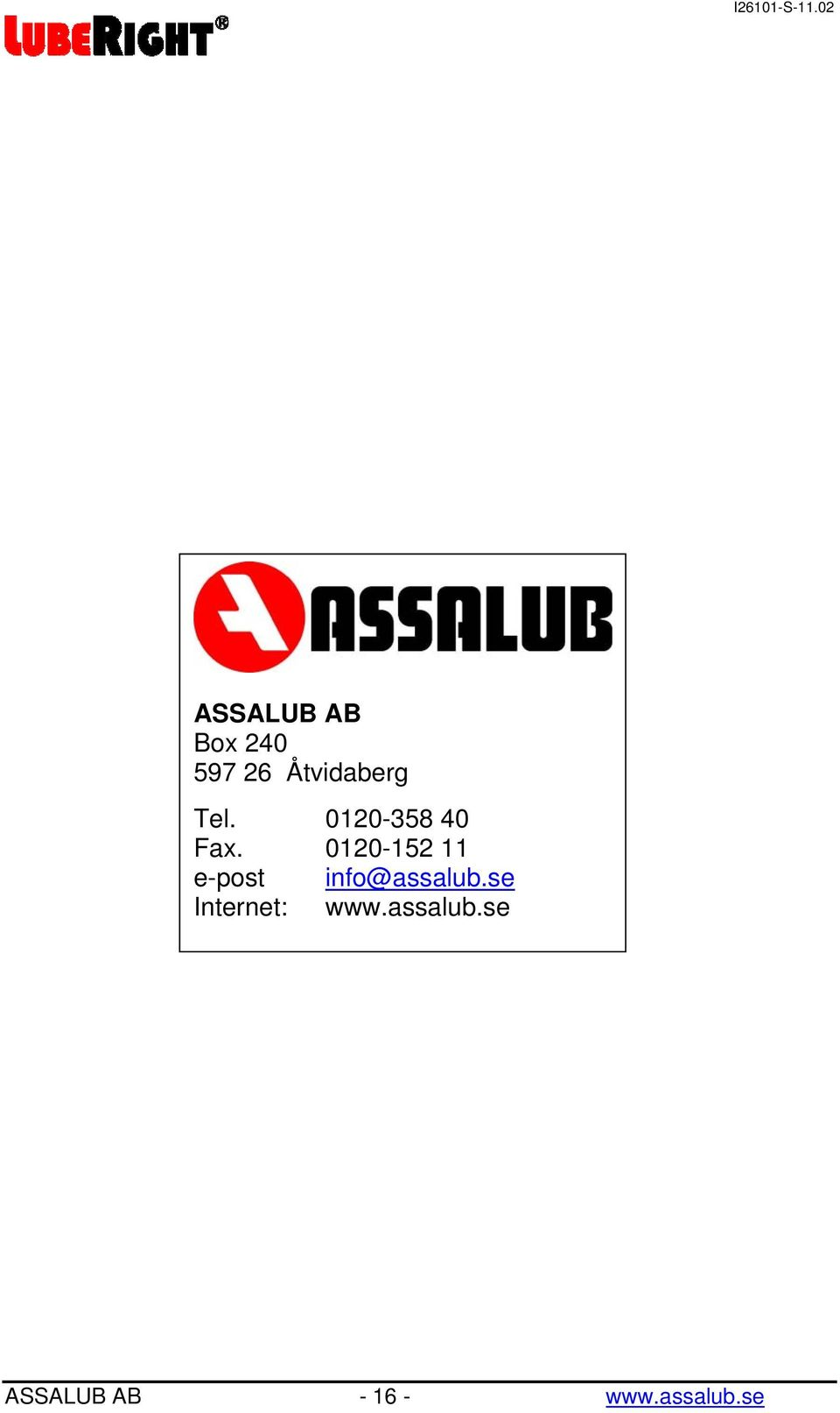 0120-152 11 e-post info@assalub.