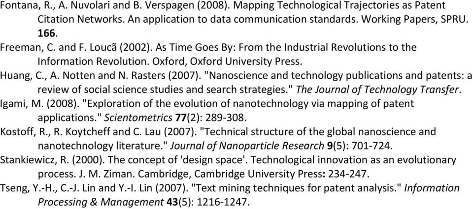"""Nanoscience and technology publications and patents: a review of social science studies and search strategies."" The Journal of Technology Transfer. Igami, M. (2008)."