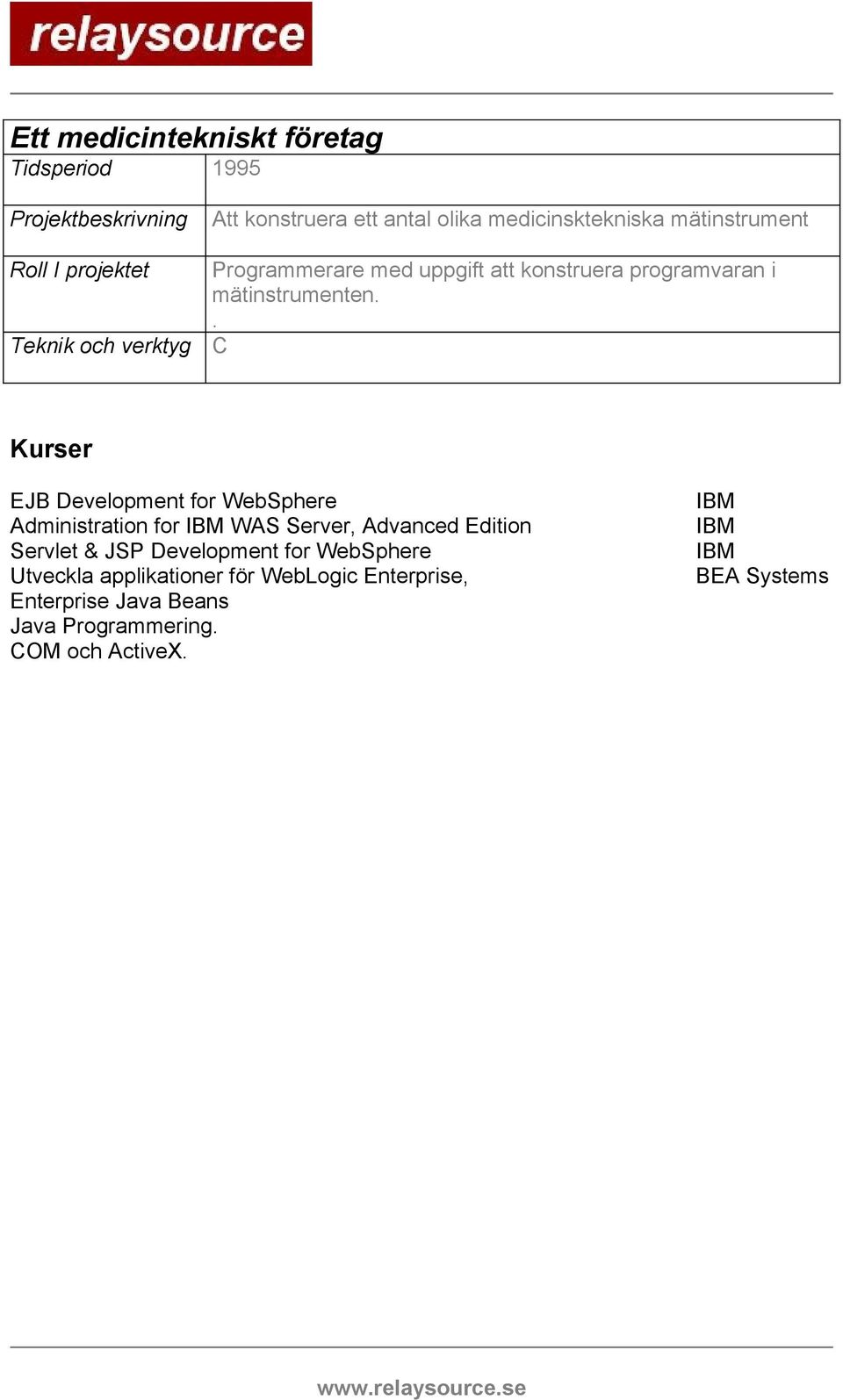 . C Kurser EJB Development for WebSphere Administration for IBM WAS Server, Advanced Edition Servlet & JSP