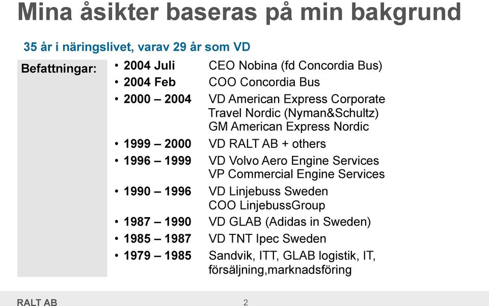 AB + others 1996 1999 VD Volvo Aero Engine Services VP Commercial Engine Services 1990 1996 VD Linjebuss Sweden COO LinjebussGroup 1987