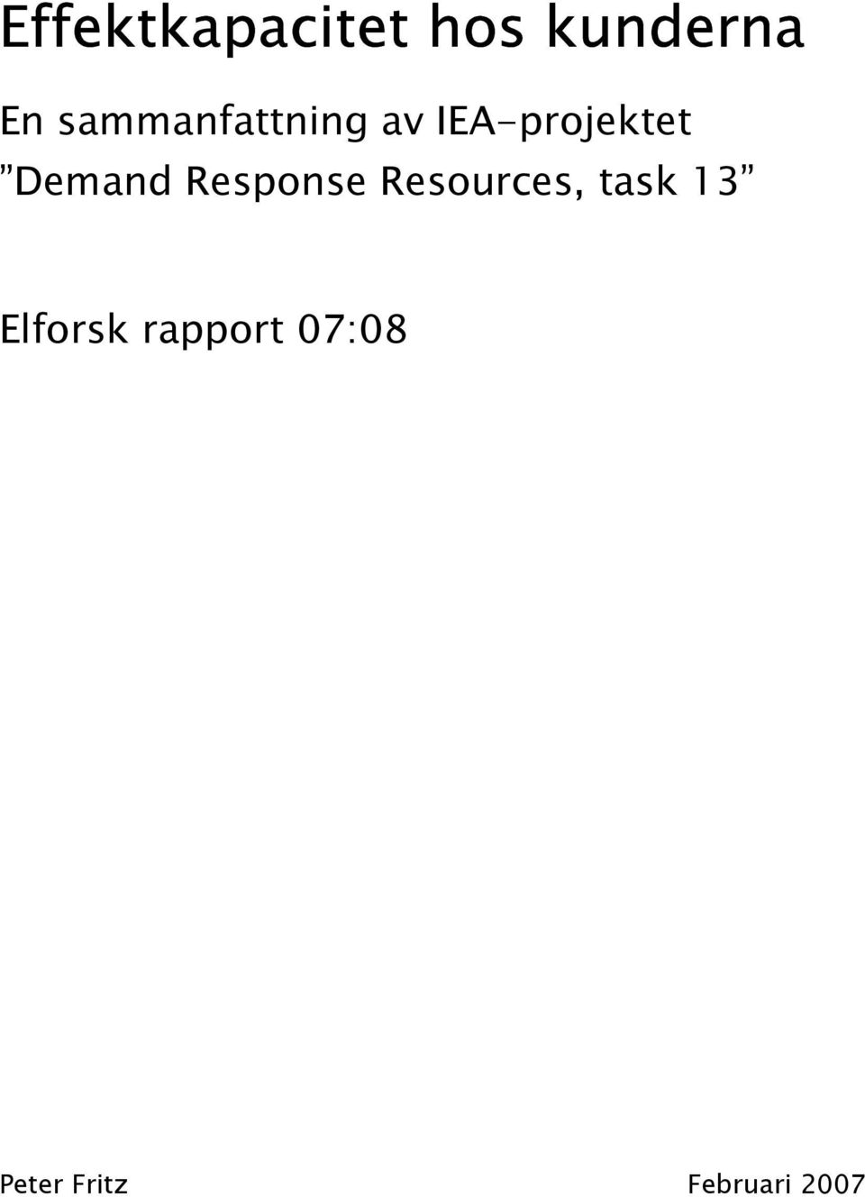 Demand Response Resources, task 13