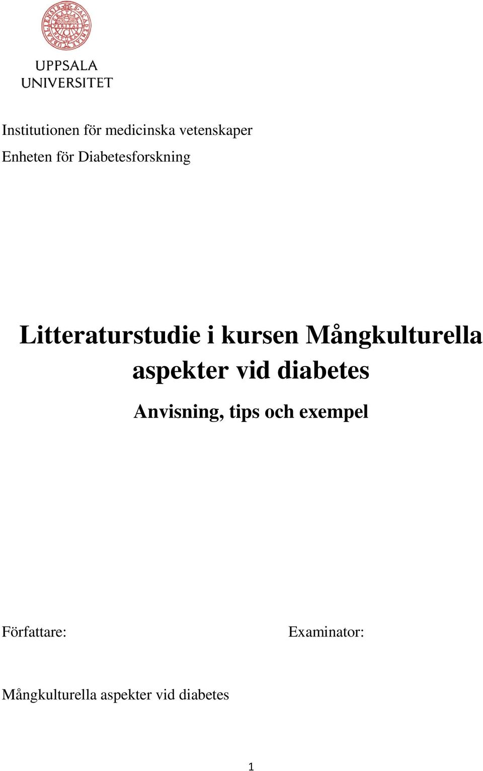 Mångkulturella aspekter vid diabetes Anvisning, tips