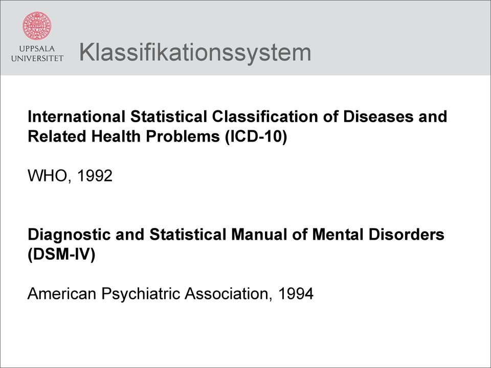 (ICD-10) WHO, 1992 Diagnostic and Statistical Manual of