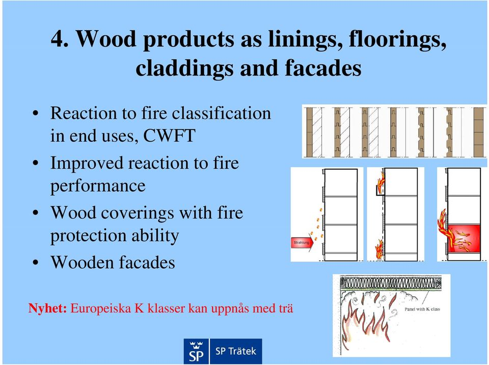 reaction to fire performance Wood coverings with fire