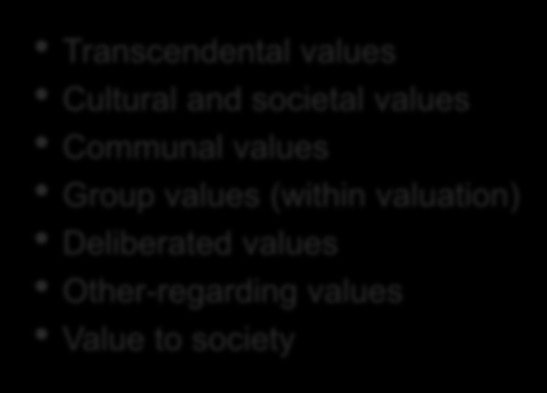 Social/shared values Transcendental values Cultural and societal values Communal values Group values (within