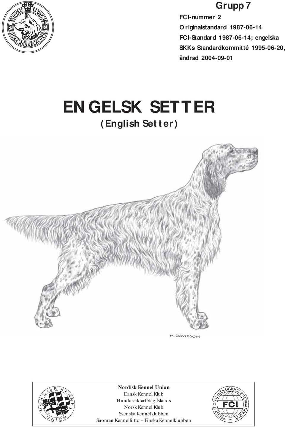 (English Setter) Nordisk Kennel Union Dansk Kennel Klub Hundaræktarfélag