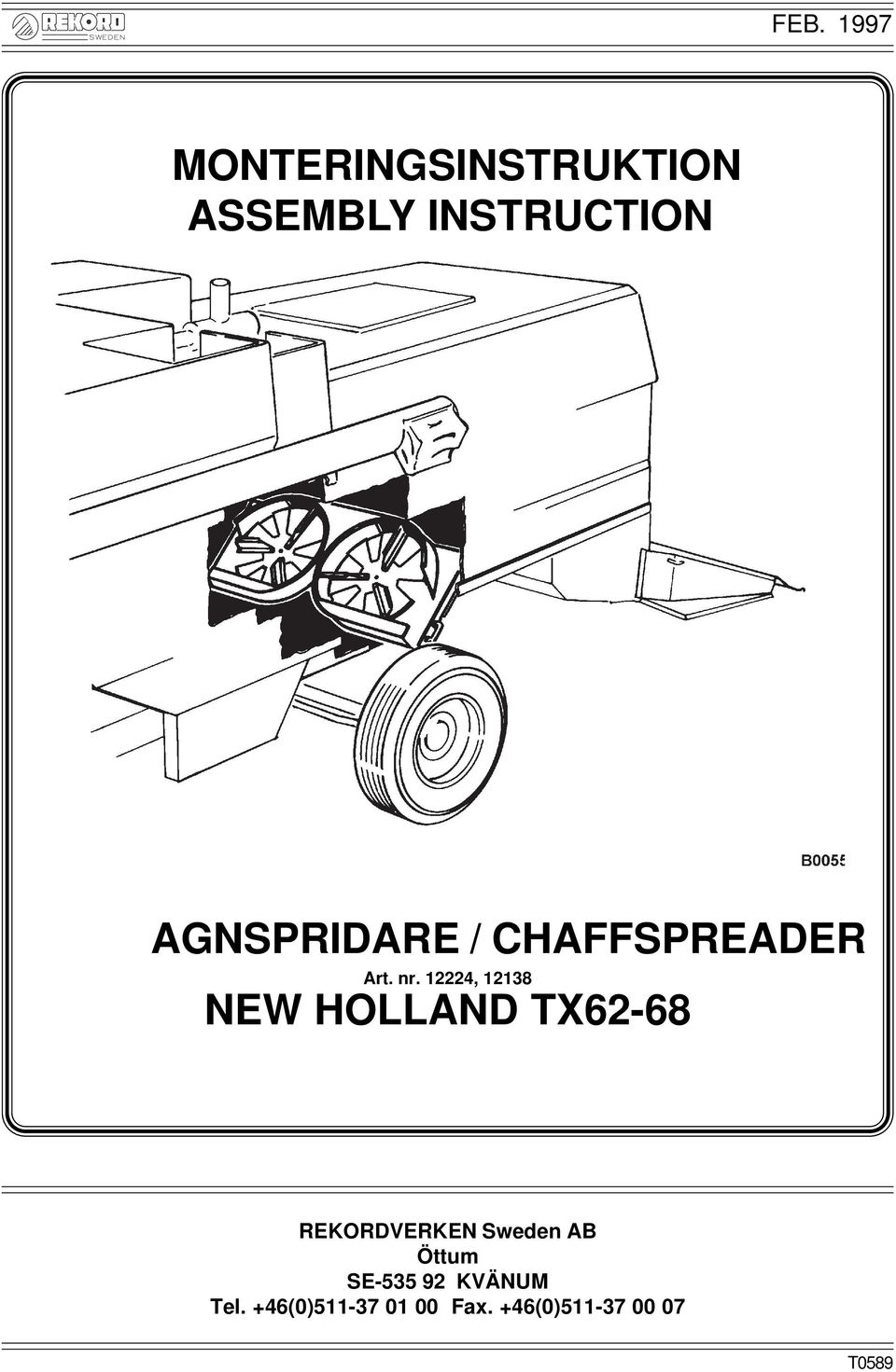 12224, 12138 NEW HOLLAND TX62-68 REKORDVERKEN weden