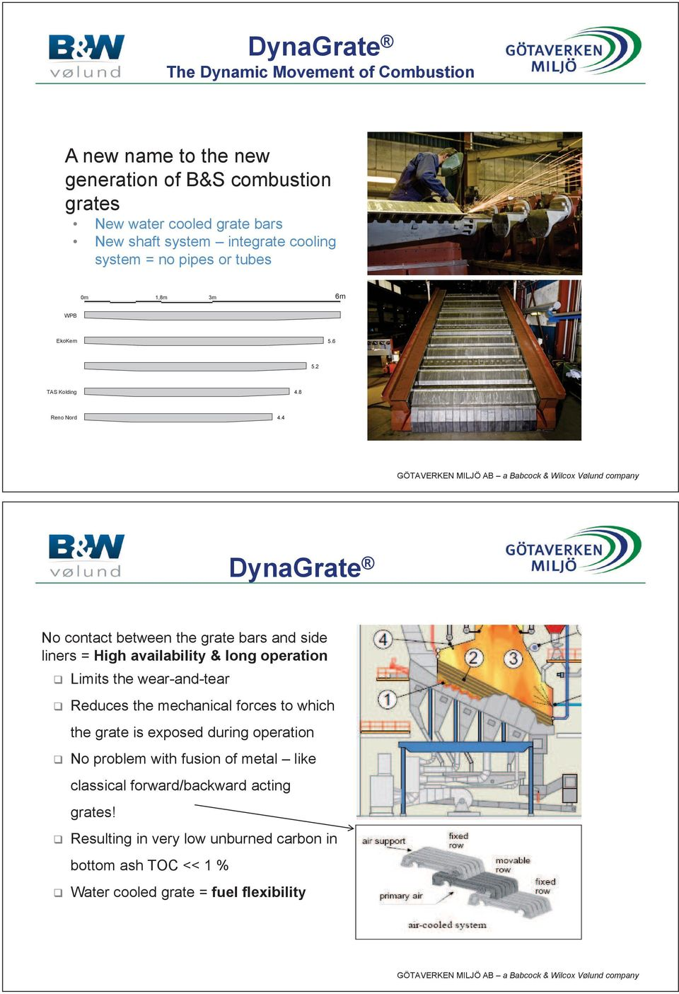 4 DynaGrate No contact between the grate bars and side liners = High availability & long operation Limits the wear-and-tear Reduces the mechanical forces to