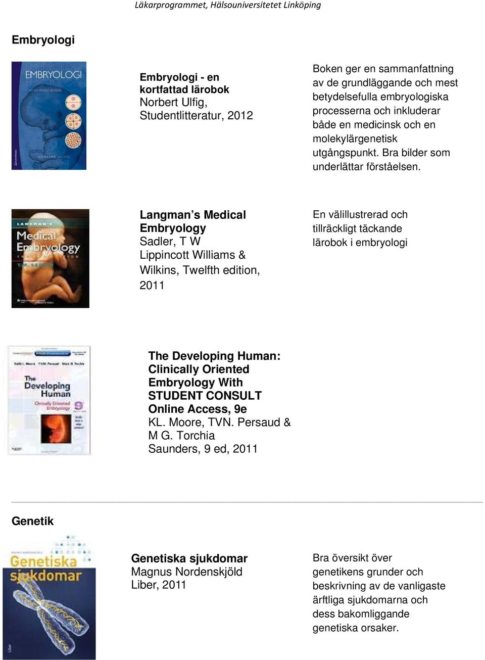 Langman s Medical Embryology Sadler, T W Lippincott Williams & Wilkins, Twelfth edition, 2011 En välillustrerad och tillräckligt täckande lärobok i embryologi The Developing Human: Clinically