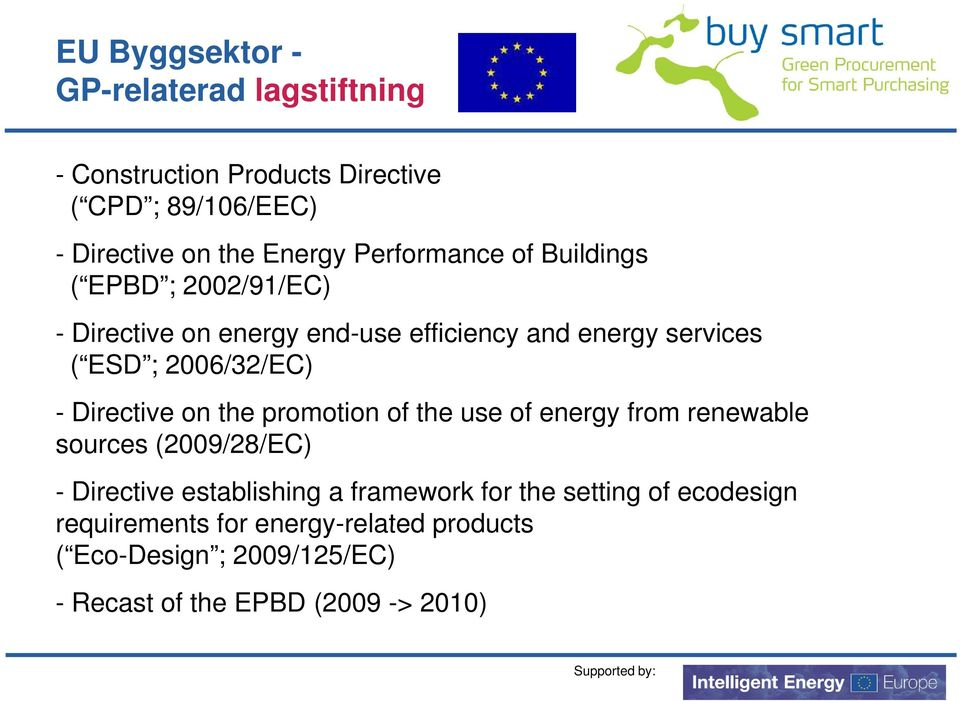 - Directive on the promotion of the use of energy from renewable sources (2009/28/EC) - Directive establishing a framework for