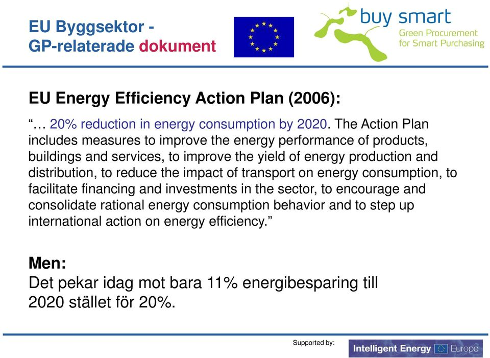 distribution, to reduce the impact of transport on energy consumption, to facilitate financing and investments in the sector, to encourage and