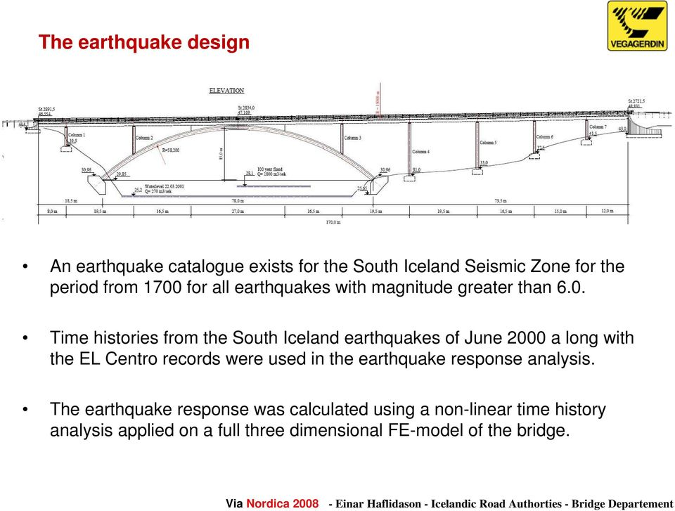 Time histories from the South Iceland earthquakes of June 2000 a long with the EL Centro records were used in