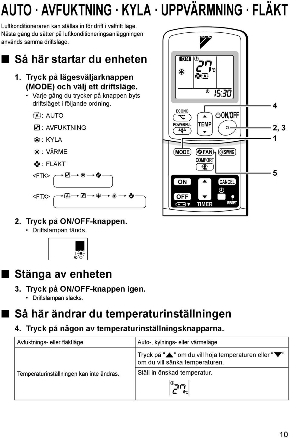:AUTO :AVFUKTNING : KYLA :VÄRME :FLÄKT <FTK> ECONO POWERFUL TEMP ON/OFF MODE FAN SWING COMFORT ON CANCEL 4 2, 3 1 5 <FTX> 2. Tryck på ON/OFF-knappen. Driftslampan tänds. OFF TIMER Stänga av enheten 3.