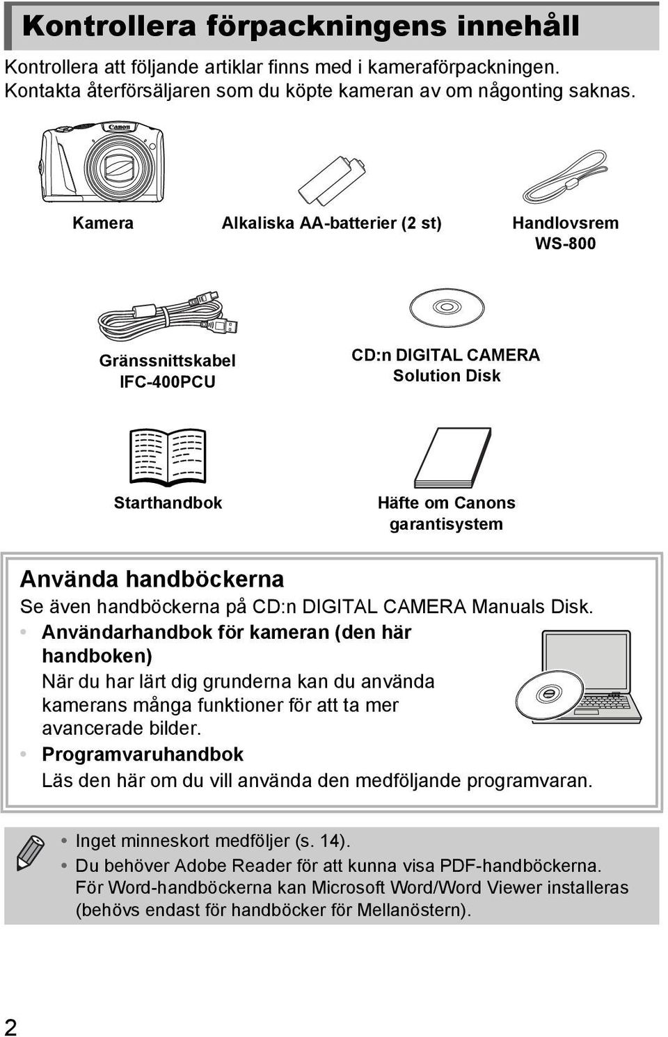 handböckerna på CD:n DIGITAL CAMERA Manuals Disk.