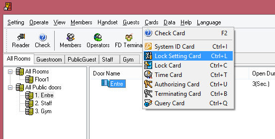 "1. Select the door that you want to program 2. S50, Creating a System ID Card from Cards System ID Card 3. Check ""Using for setting the initialized locks"" and click on Issue and OK 4."