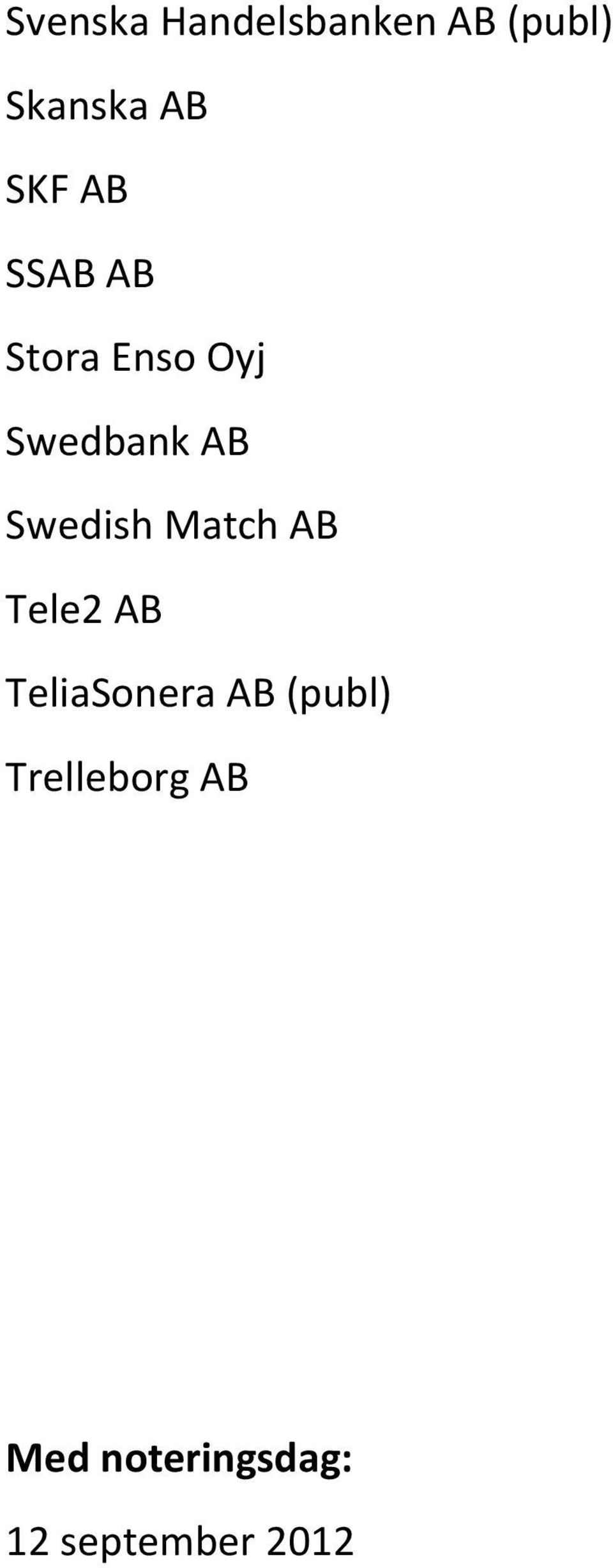 Swedish Match AB Tele2 AB TeliaSonera AB