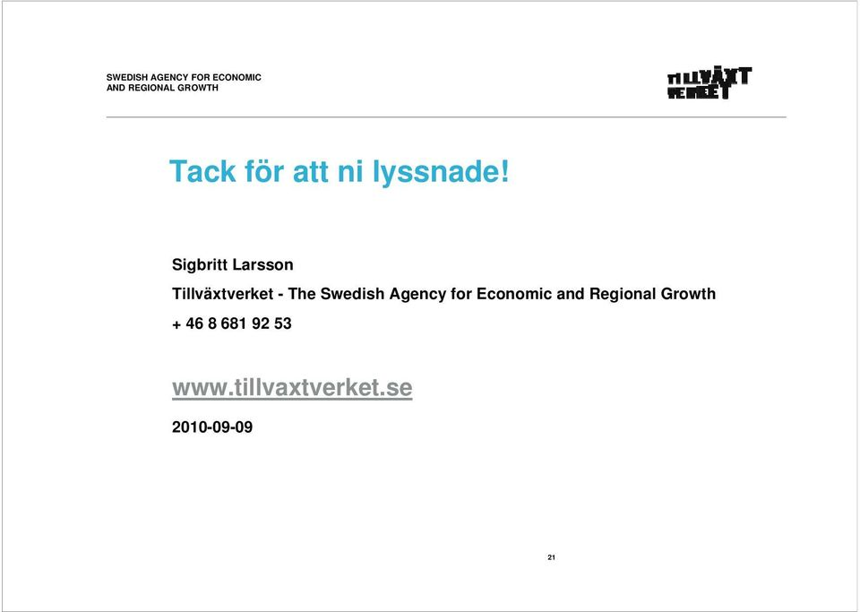 Swedish Agency for Economic and Regional