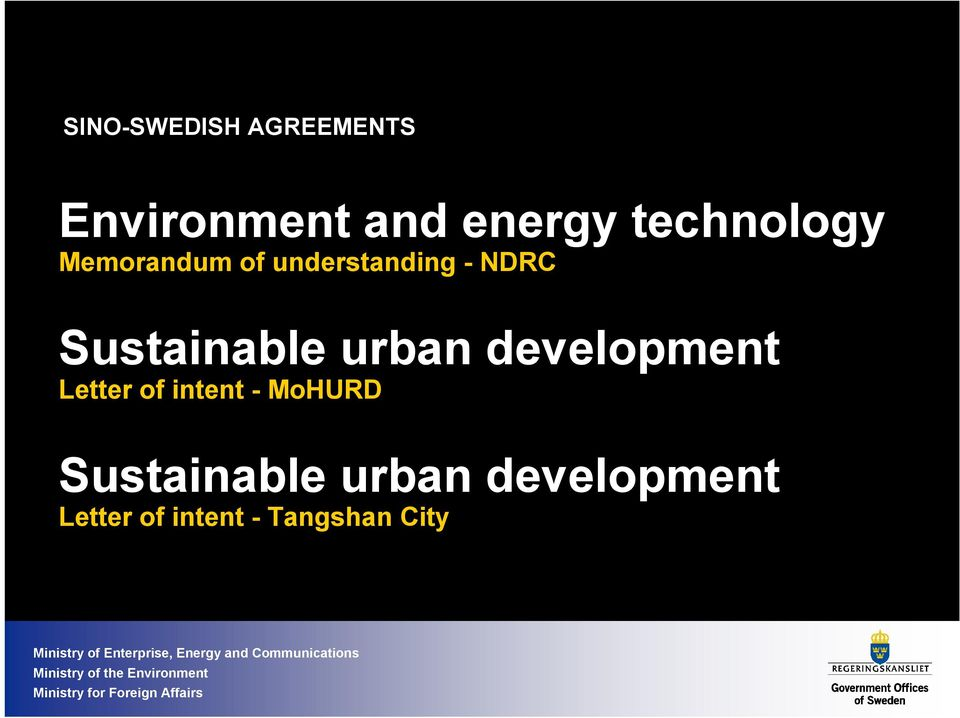 Sustainable urban development Letter of intent -