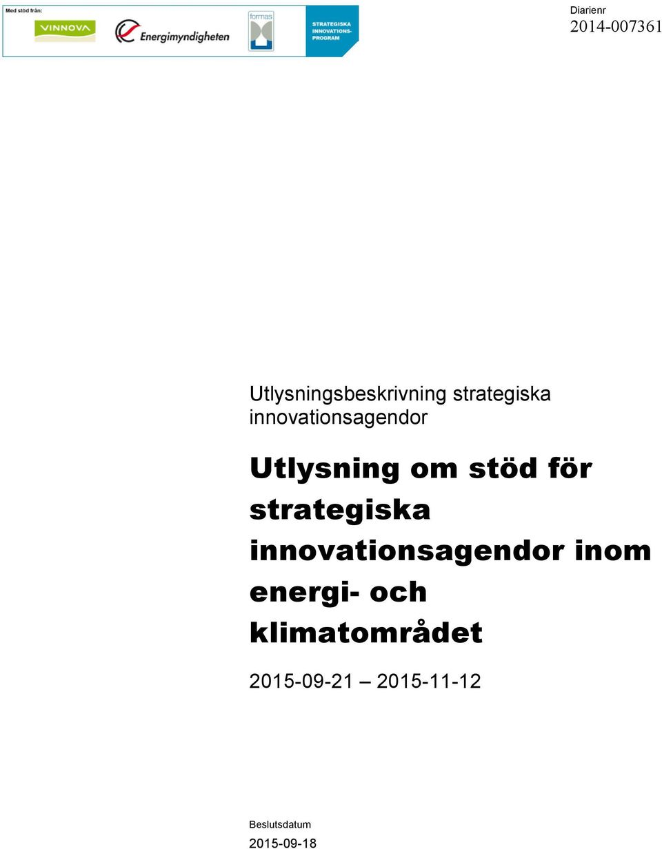 för strategiska innovationsagendor inom energi-