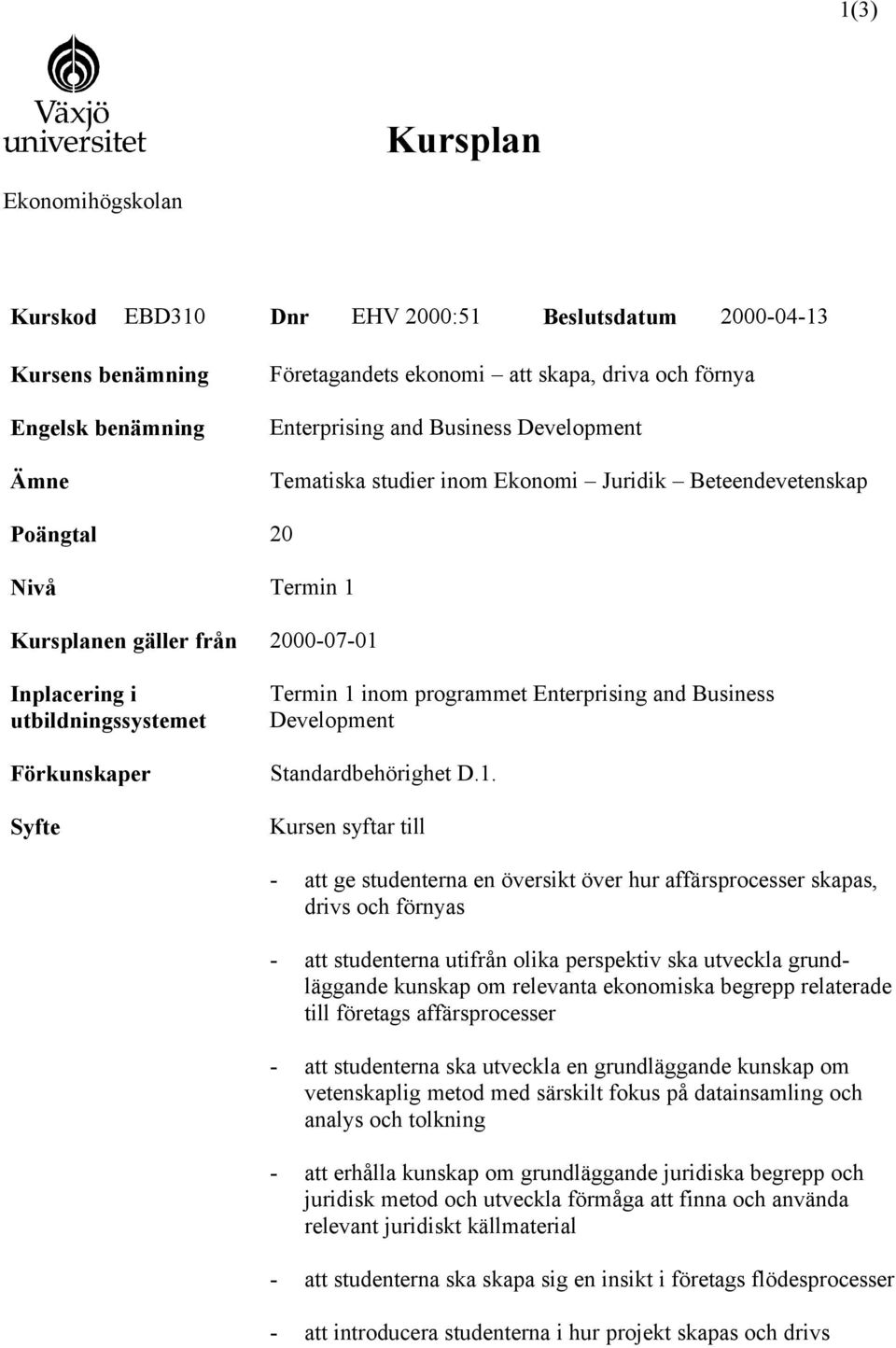 programmet Enterprising and Business Development Standardbehörighet D.1.