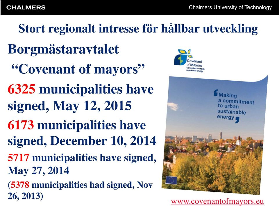 6173 municipalities have signed, December 10, 2014 5717 municipalities have