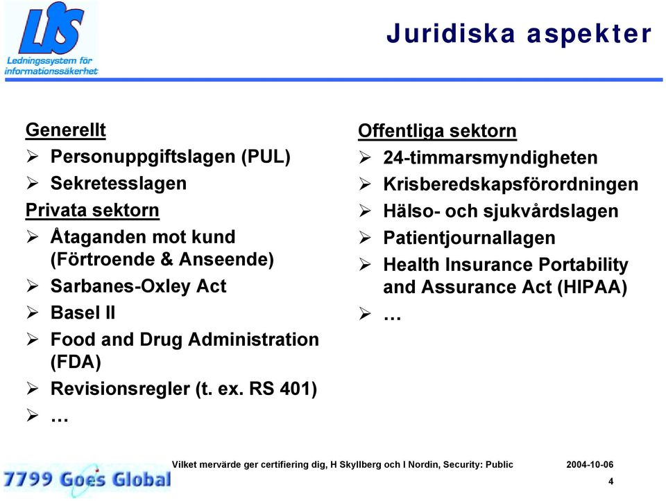 Food and Drug Administration (FDA)! Revisionsregler (t. ex. RS 401)! Offentliga sektorn!