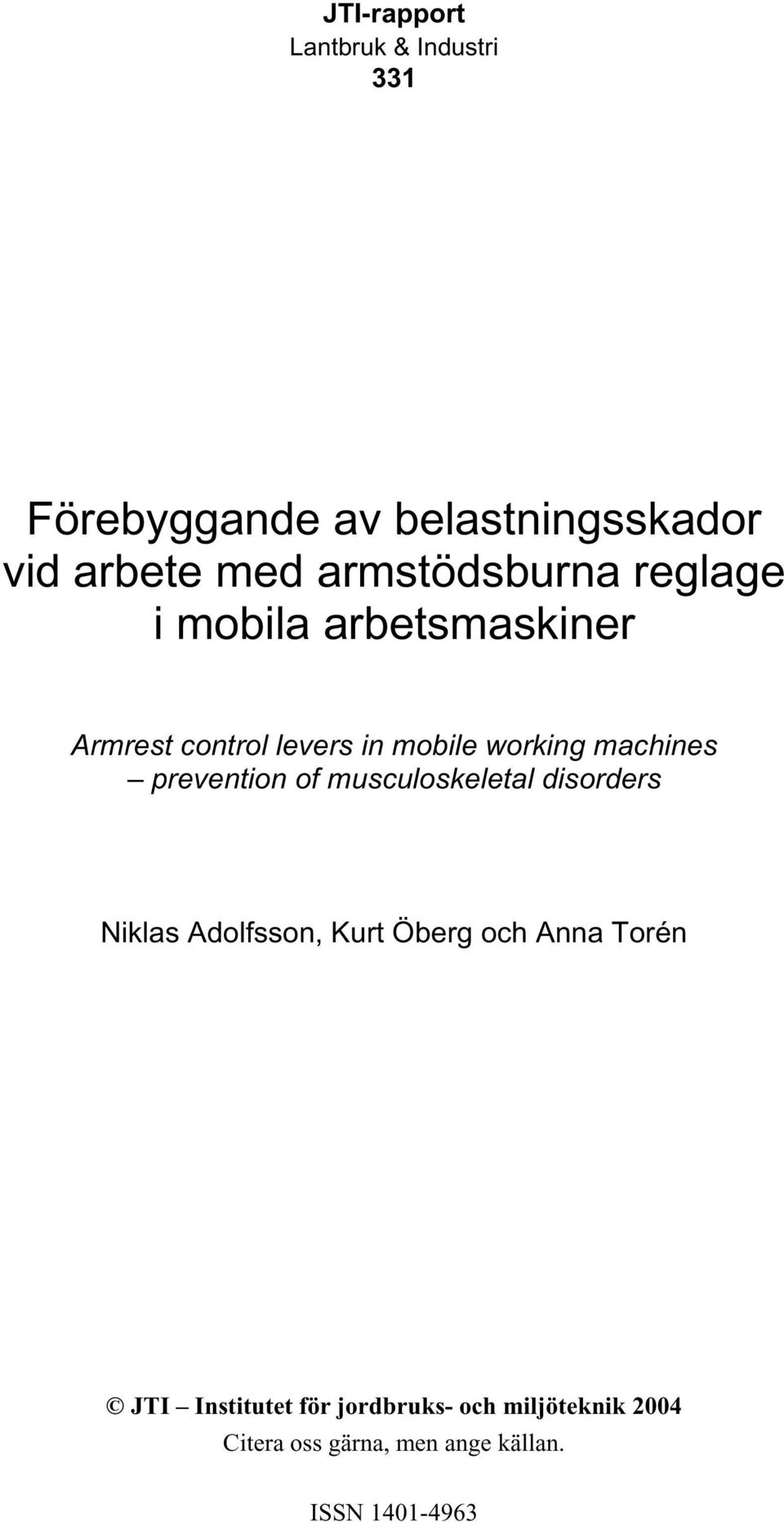 in mobile working machines prevention of musculoskeletal disorders Niklas