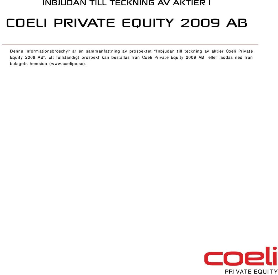 Private Equity 2009 AB.