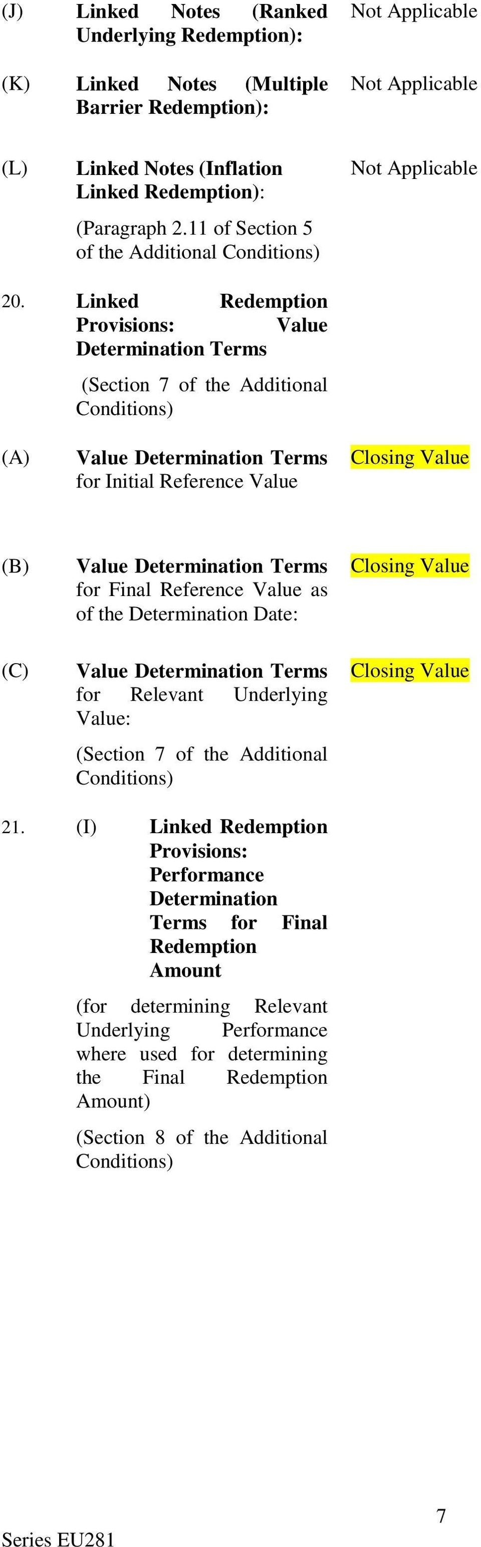 Linked Redemption Provisions: Value Determination Terms (Section 7 of the Additional Conditions) (A) Value Determination Terms for Initial Reference Value Closing Value (B) (C) Value Determination