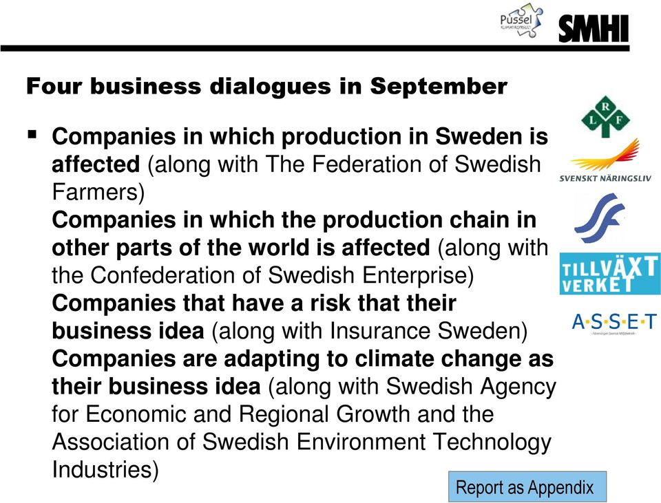 Companies that have a risk that their business idea (along with Insurance Sweden) Companies are adapting to climate change as their