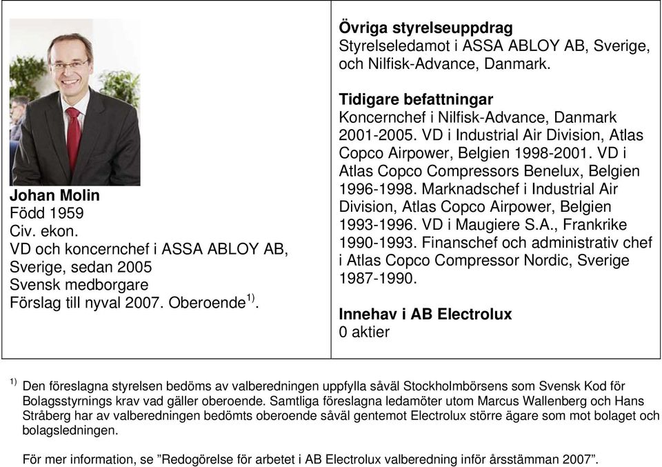 VD i Atlas Copco Compressors Benelux, Belgien 1996-1998. Marknadschef i Industrial Air Division, Atlas Copco Airpower, Belgien 1993-1996. VD i Maugiere S.A., Frankrike 1990-1993.