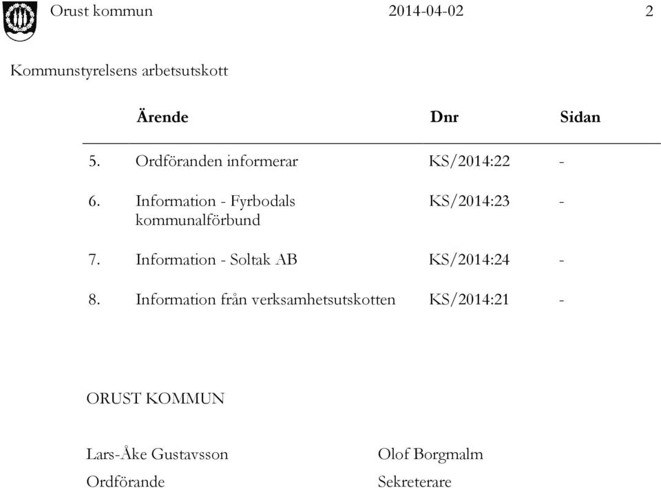 Information - Soltak AB KS/2014:24-8.