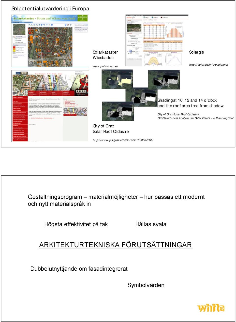 for Solar Plants a Planning Tool City of Graz Solar Roof Cadastre http://www.gis.graz.