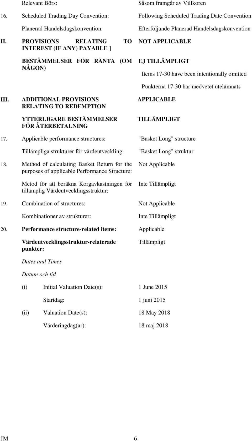 omitted III. ADDITIONAL PROVISIONS RELATING TO REDEMPTION YTTERLIGARE BESTÄMMELSER FÖR ÅTERBETALNING Punkterna 17-30 har medvetet utelämnats APPLICABLE TILLÄMPLIGT 17.