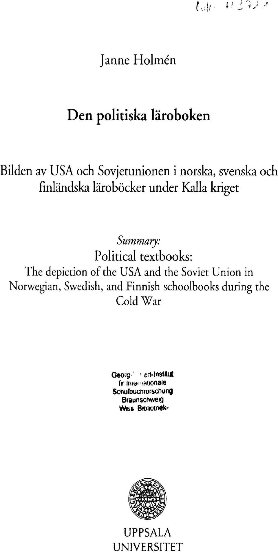 and the Soviet Ur Norwegian, Swedish, and Finnish schoolbooks Cold War Georg' ->