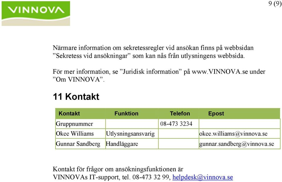 11 Kontakt Kontakt Funktion Telefon Epost Gruppnummer 08-473 3234 Okee Williams Utlysningsansvarig okee.williams@vinnova.
